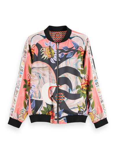 Reversible Printed Long Sleeve Bomber Jacket - Combo A