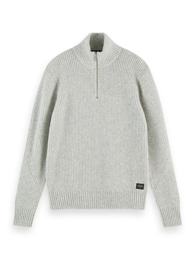 Wool-Blend Half-Zip Knit Pullover - Grey Melange