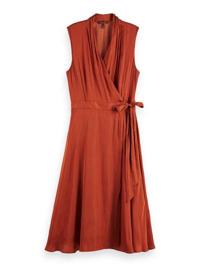 Sleeveless Midi Wrap Dress - Copper