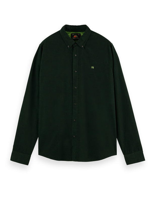Regular Fit Cotton Corduroy Shirt - Bottle Green