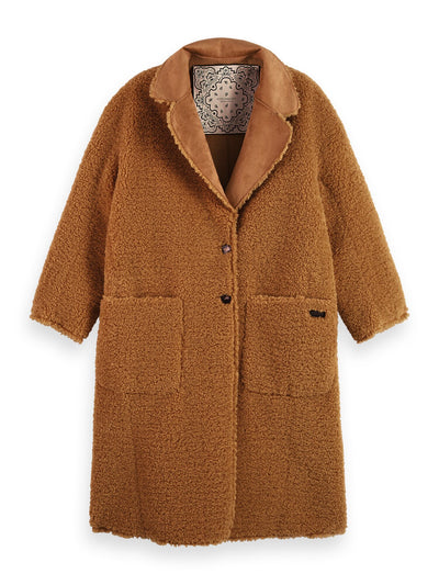Long Reversible Teddy Jacket - Camel