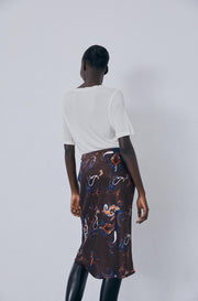 Bias Cut Skirt - Brown Paisley
