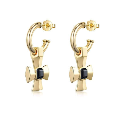Lemmy Cross Earrings - 18K Gold + Onyx