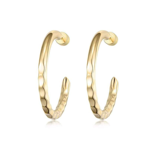 Nailed It Hammered Hoops Small - Brass + 18K Gold