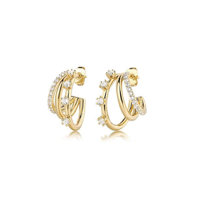 F+H Triple Threat Gemstone Hoops