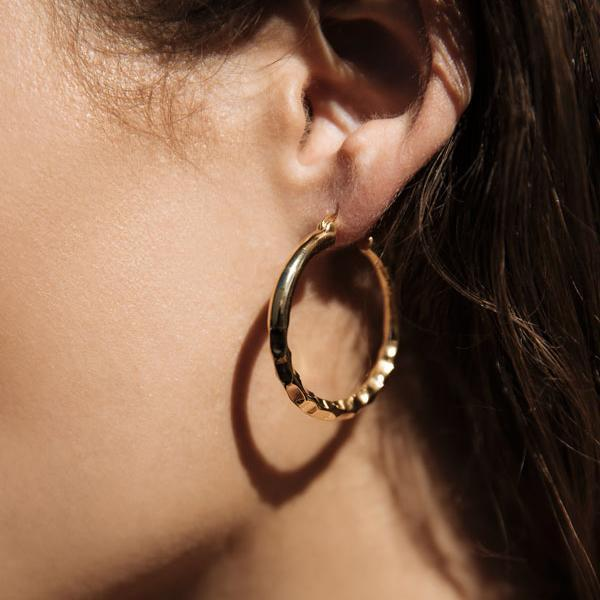 Easy Ride Hammered Hoops Small - Brass + 18K Gold