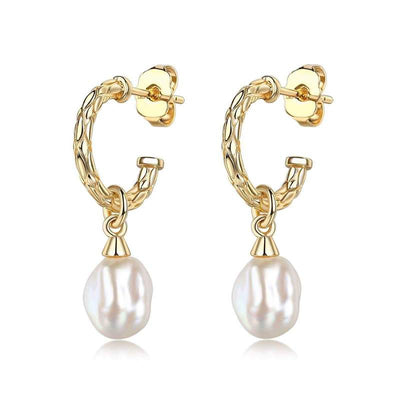 Lenny Pearl Charm Earrings - Brass + 18K Gold Plating + Pearl