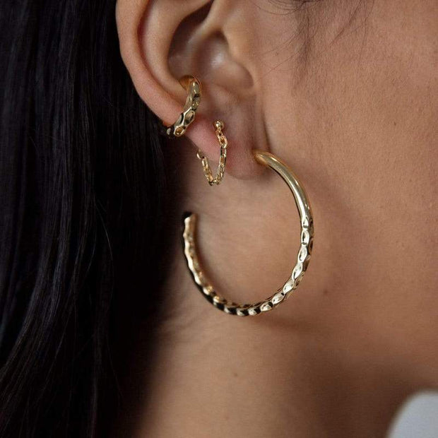 Nailed It Hammered Hoops Large - Brass + 18K Gold