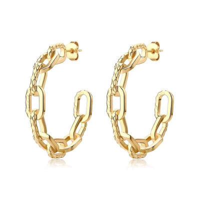 Ramones Hammered Chain Hoops Large - 18K Gold