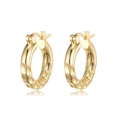 Thick Ride Hammered Hoops - 18K Gold Plating