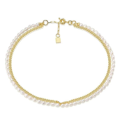 Janet Pearl + Chain Chocker - Brass + 18K Gold + Freshwater Pearl