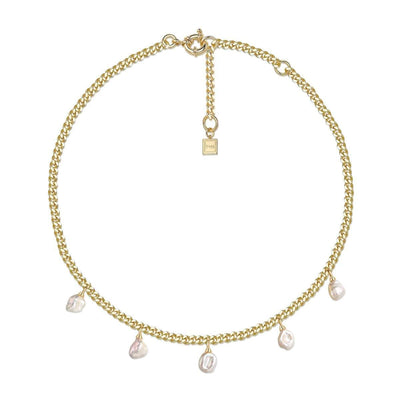 F+H Ramble On Necklace - Brass + 18K Gold Plating + Freshwater Pearl