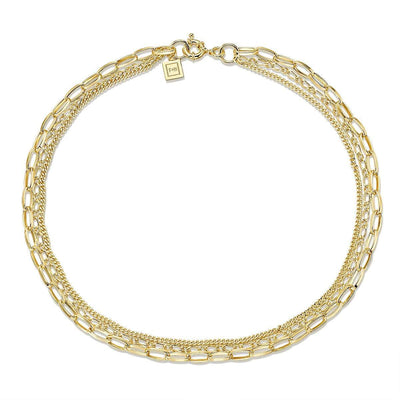 Warrant Triple Chain Necklace - Brass + 18K Gold