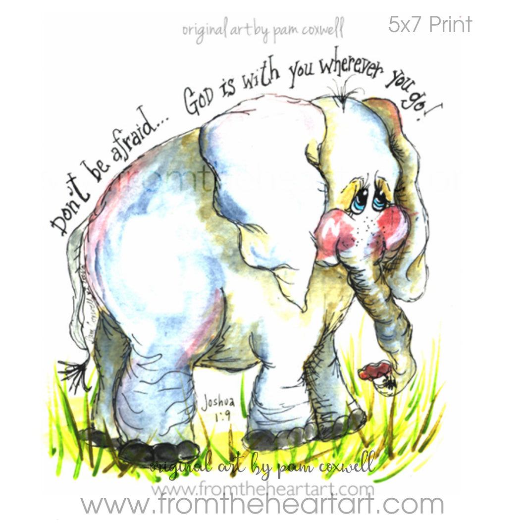 Jungle: Elephant Print (Joshua 1:9)(Farewell)