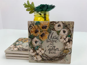 Bless Home - Gather - Ceramic Coasters - Set of 4