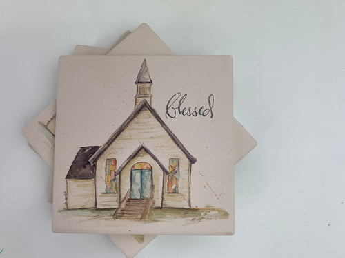 Blessed Assurance Chapel -Ceramic Coasters - Set of 4