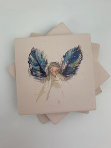 Angel Blue Wings - Ceramic Coasters - Set of 4