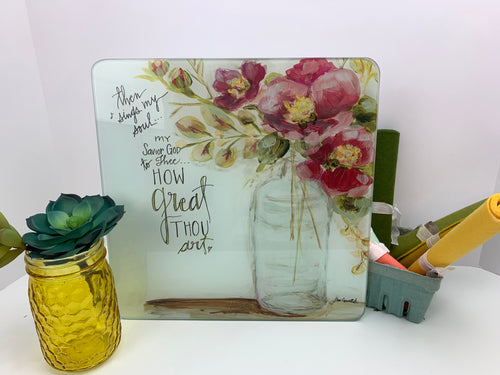 Camellia and Bottle - Glass Cutting Board