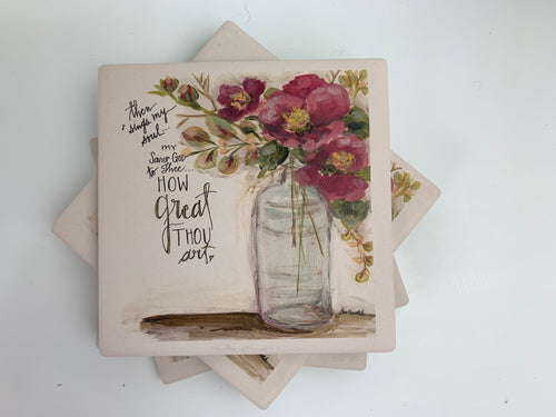 Camellia - Ceramic Coasters - Set of 4