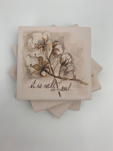 Cotton Boll - Ceramic Coasters - Set of 4