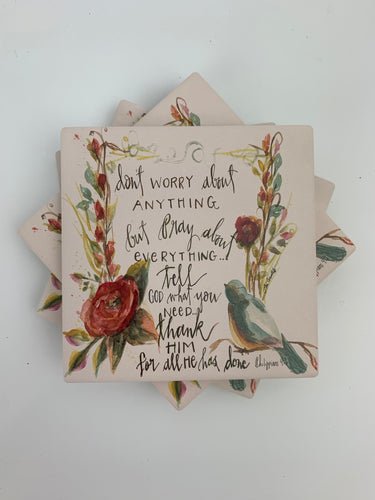 Don't Worry - Ceramic Coasters - Set of 4