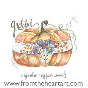 Fall - Grateful Pattern Pumpkin