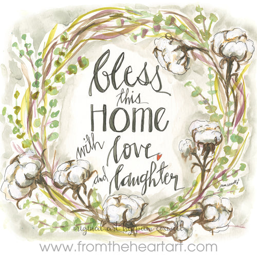 Wreath Cotton Bless Home (Love)