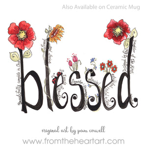 Floral: Blessed (without a border)