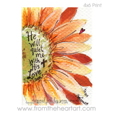 "Floral: Orange Daisy ""He Will Quiet Me"" (Zeph.3:17)"