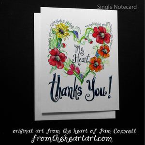 "Floral Heart:  ""My Heart Thanks You"" Notecards"