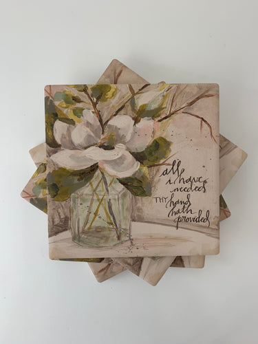 Magnolia and Bottle - Ceramic Coasters - Set of 4