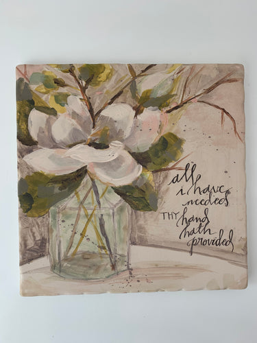 Magnolia and Bottle - Ceramic Trivet