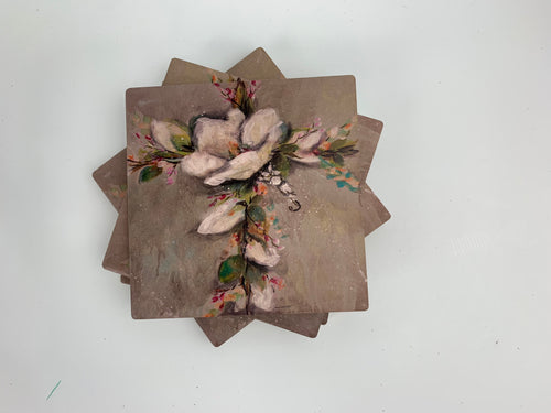 Magnolia Cross - Ceramic Coasters - Set of 4