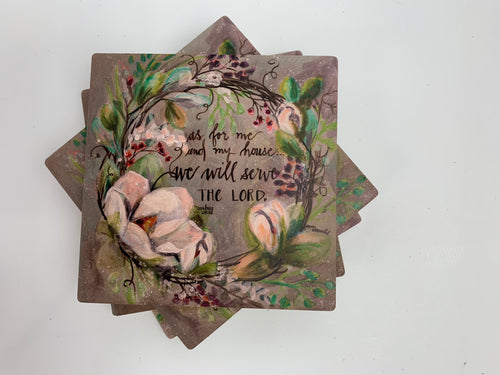 Magnolia Wreath - Ceramic Coasters - Set of 4