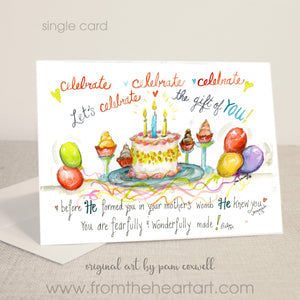 "Birthday Cake ""Celebrate You"" - Notecards"