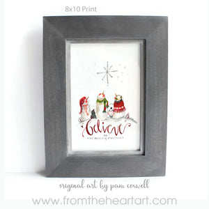 Snowman - Believe - Prints and 6x6 Tiles