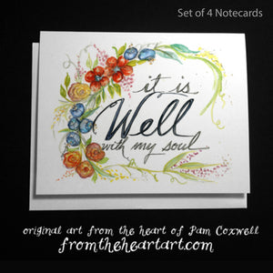 "Seaside Floral ""It Is Well"" - Notecards"