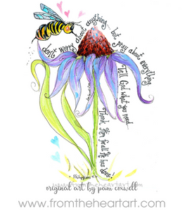 Bee & Coneflower {Phil 4:6} Note Cards