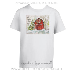 Christmas Barn Adult T-shirt