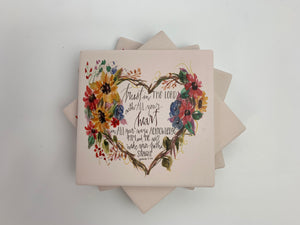 Trust Heart - Ceramic Coasters - Set of 4