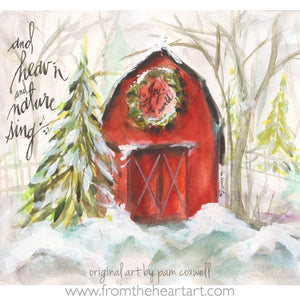 Christmas Red Barn