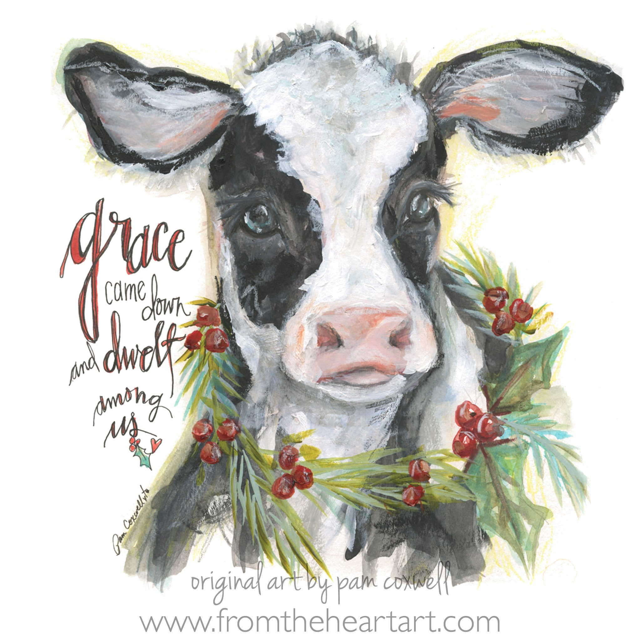 Christmas Cow.Christmas Cow From The Heart Art