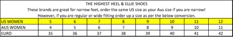 The Highest Heel Collection Size Chart