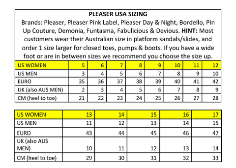 Pleaser USA Size Chart