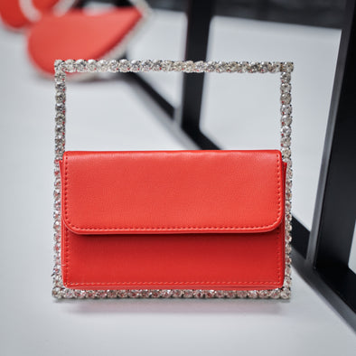 be squared bling purse - red