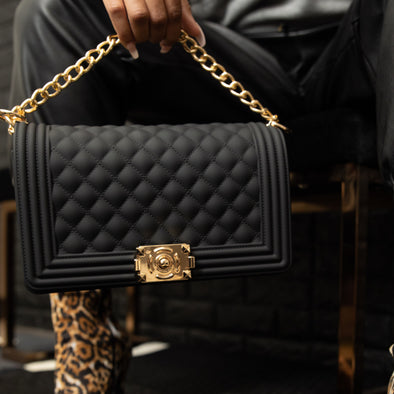 gold chain quilted handbag