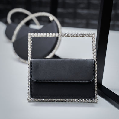 be squared bling purse - black