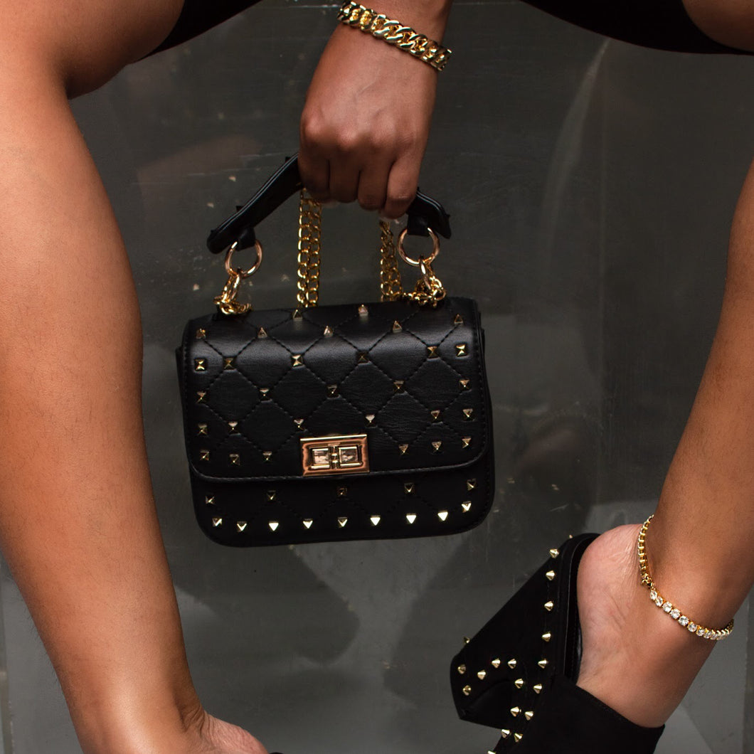 leather gold studded chain purse - black