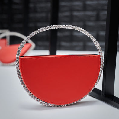 circle bling purse - red