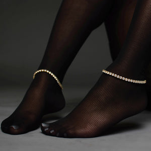 gold tennis anklet